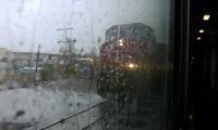 A rainy time on a train
